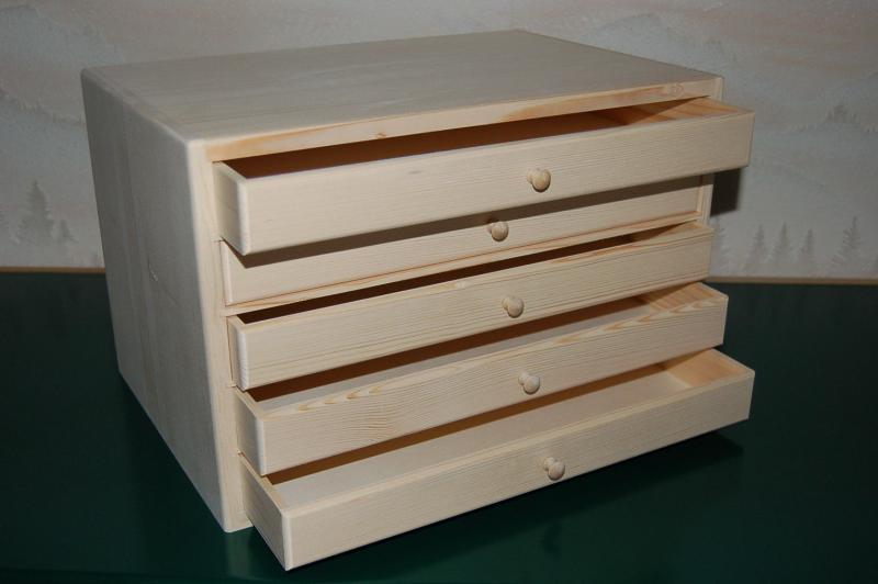 Petit meuble de rangement 5 tiroirs en bois en bois   Boissellerie Cretin