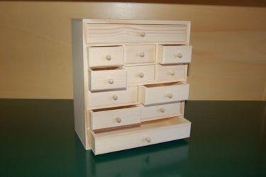 petit meuble de rangement en bois 12 tiroirs en bois boissellerie cretin. Black Bedroom Furniture Sets. Home Design Ideas